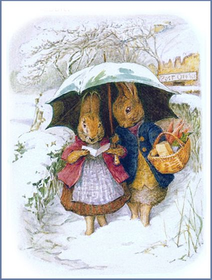 "Beatrix Potter - Bunnies in Winter  Helen Beatrix Potter (1866 – 1943) English author, illustrator, mycologist and conservationist  This watercolour is at the Victoria and Albert Museum, but isn't shown online. In the past they sold it on notecards. Very similar to her older cover drawing for ""The Happy Pair."" This one is much more winsome and a more mature paint"