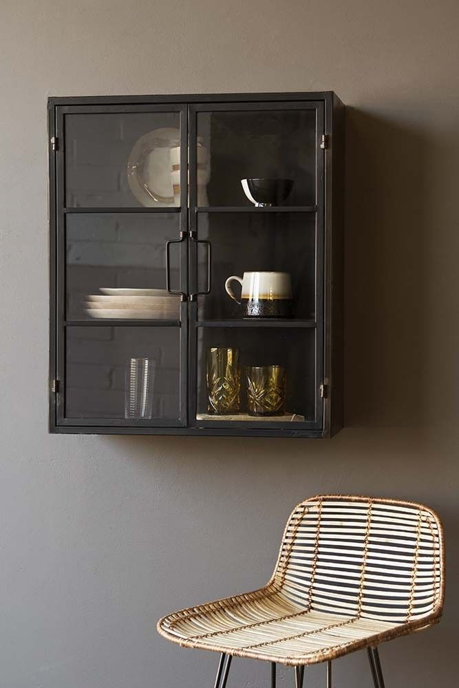 Square Metal Glass Pane Wall Cabinet Wall Cabinet Glass Shelves