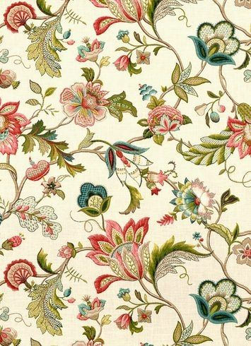 "Brissac Jewel - P. Kaufmann Fabric, Traditional floral Jacobean print, 55%LINEN/45%RAYON, Multi purpose decorator fabric, Repeat; V 27"" x H 27"". Made in U.S.A. 54"" wide"