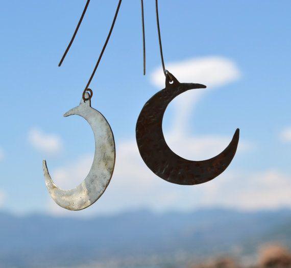 Hammered alpaca silver moon earrings by fanoulala on Etsy