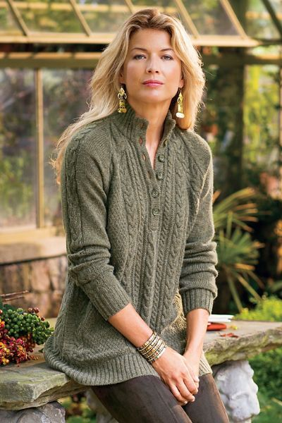 Moss Grey Heather Cable Pullover - Soft Cable Knit Sweater, Cable Knit Pullover Sweater   Soft Surroundings