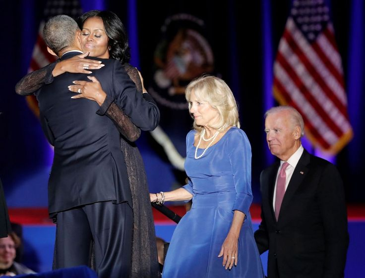 <p>President Barack Obama hugs his wife Michelle as Vice-President Joe Biden and his wife Jill look on after the President delivered a farewell address at McCormick Place in Chicago, Illinois, U.S. January 10, 2017.(John Gress/Reuters) </p>