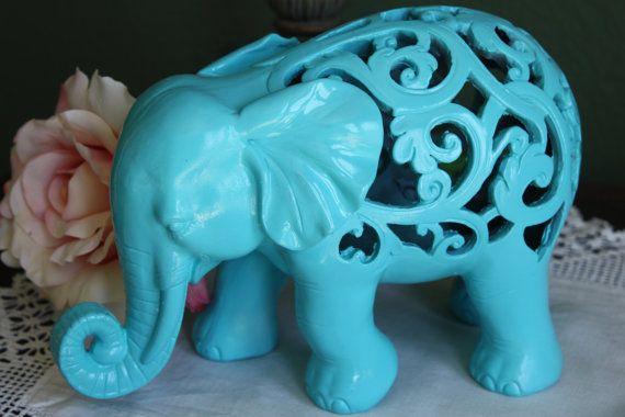 TURQUOISE Ornate Elephant Figurine / Home Decor / Animal Decor on Etsy, $29.99