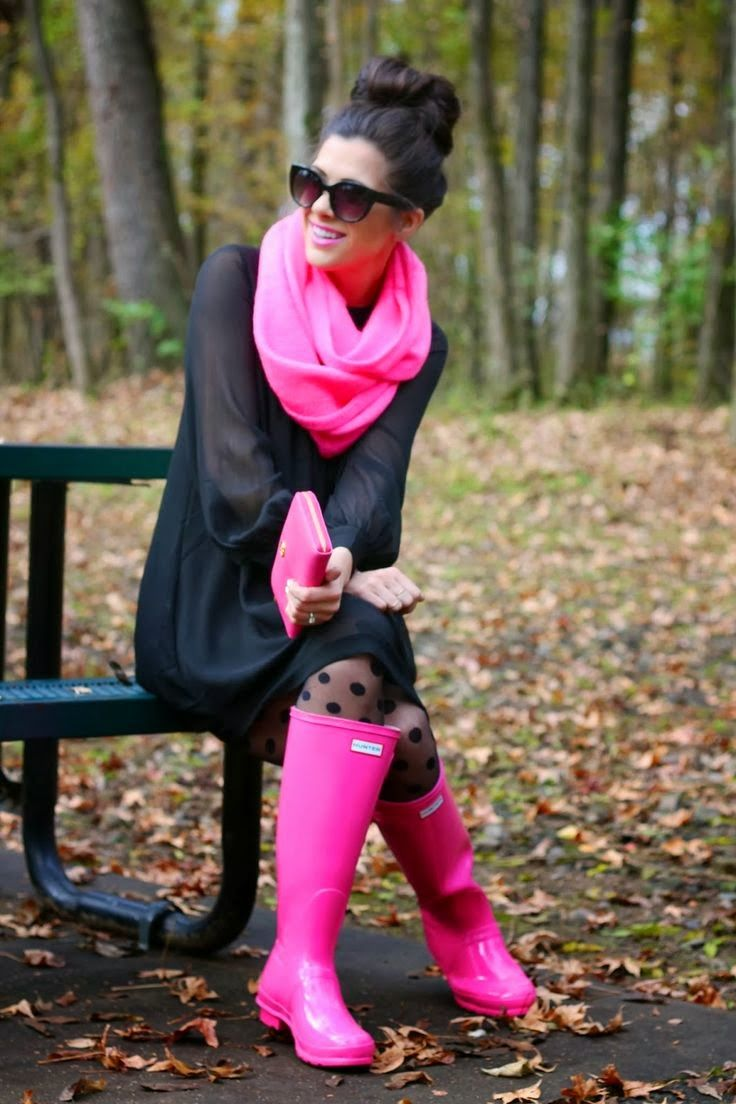 brighten a rainy day with pink Hunters and accessories