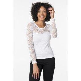 White lace long sleeve shirt