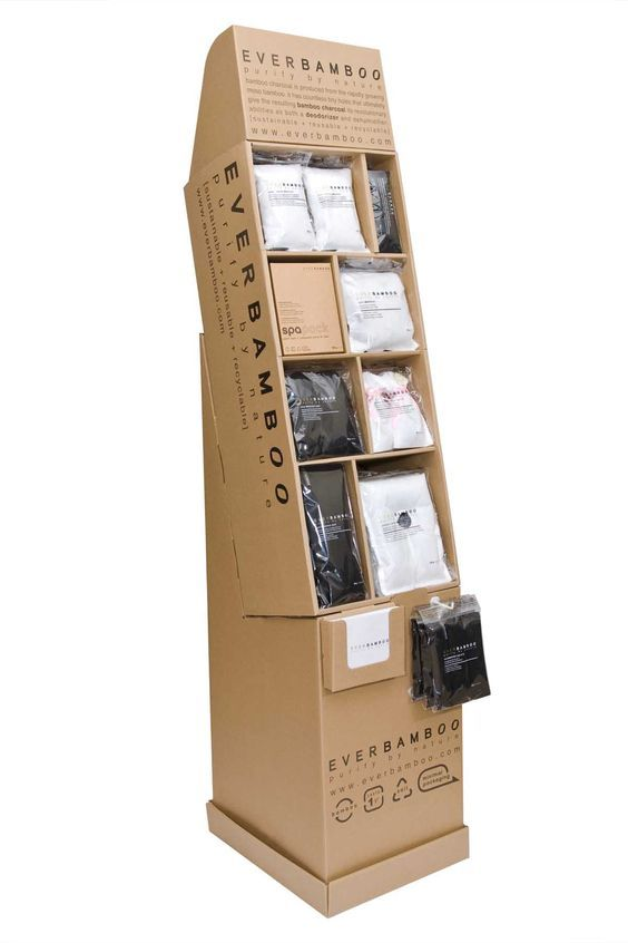 Corrugated Floor Display Stand. Assembled from 12 pieces (11 pieces of flat cardboards & 1 mini plastic hook). The pre-packed display fits into a master carton measured 31 x 13 x 12 in.: