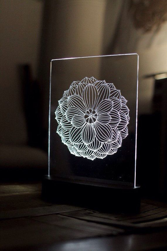Lotus Mandala Acrylic 3d Led Table Lamp Bedroom Night Light Bedside Night Lamp Decorative Modern Bedside Night Lamps Bedroom Night Light Led Table Lamp