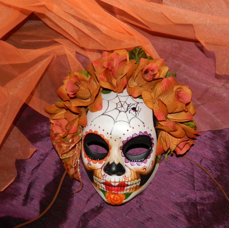 Dia de los Muertos Mask Spider Web Day of the Dead Deaths Head Skull with Veil. $67.00, via Etsy.