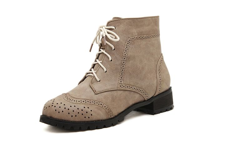 #Baroque #Lace Up #Flat #Boots