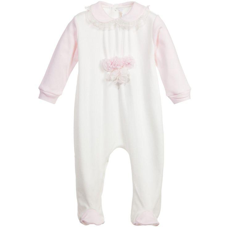 Aletta Baby Girls Ivory & Pink Cotton Babygrow at Childrensalon.com