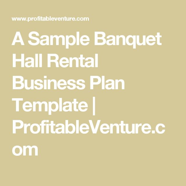 El Business Plan Template | Banquet Hall Business Plan Oxynux Org