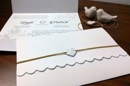 Convite Casamento 15 anos Debutante Love Letter Carta de Amor Romântico Vintage Barato Econômico Escalopes Branco. http://www.rosamia.com.br