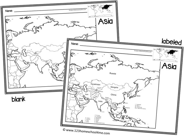 Labeled And Blank Maps From United States Contients And World Maps