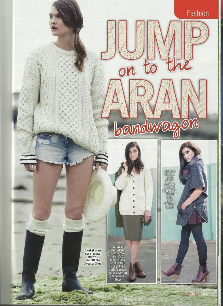 Soft Merino Aran Honeycomb sweater by Irelands Eye Knitwear (worn with denim shorts and boots) featured in the Sunday World Magazine.