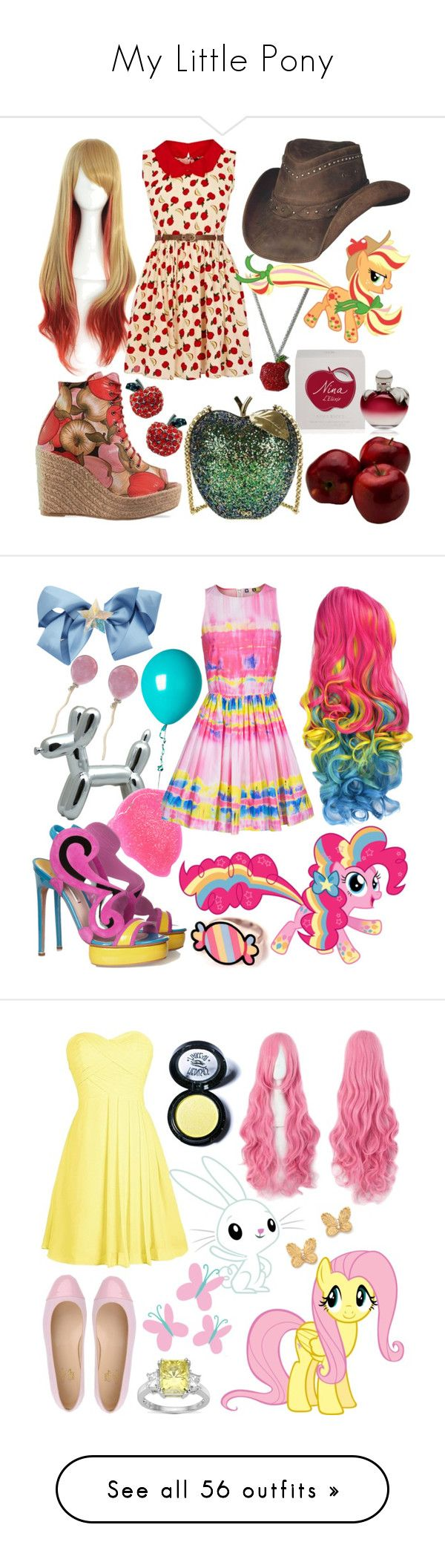 """""""My Little Pony"""" by ravenelesig ❤ liked on Polyvore featuring Nina Ricci, Oasis, Ego and Greed, Anya Hindmarch, MLP, MyLittlePony, Applejack, powerpony, Vhernier and MSGM"""