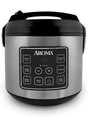 Aroma Housewares 20 Cup Cooked (10 cup uncooked) Digital Rice Cooker Slow Cooker Food Steamer SS Exterior (ARC-150SB)