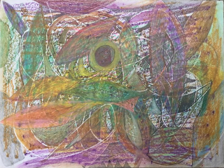 Free Association Mixed Media Drawing On Paper Non Objective Art Autumn Palette