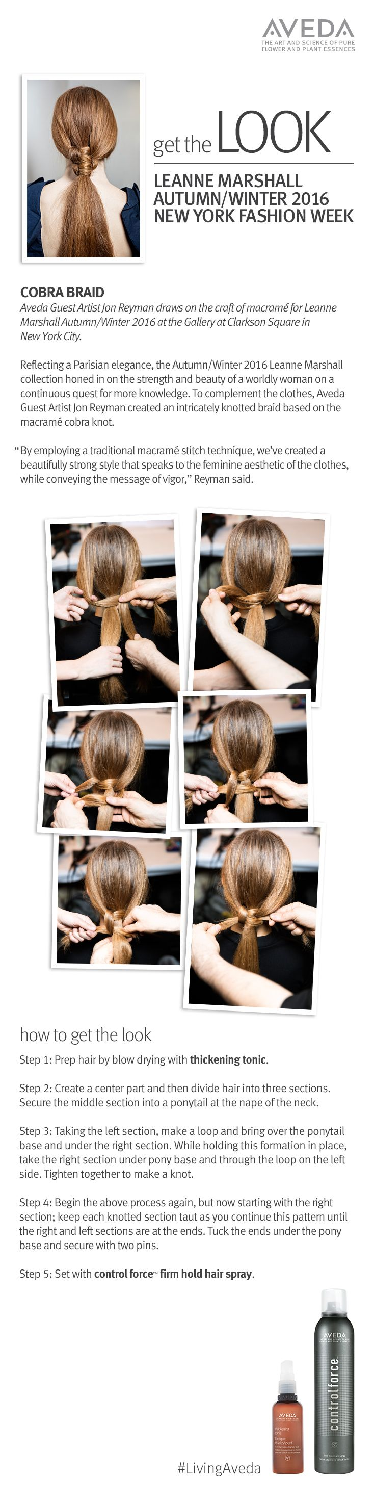 """Try a new twist on your basic ponytail or braid with the """"cobra braid"""" created by Jon Reyman for Leanne Marshall F/W 2016."""