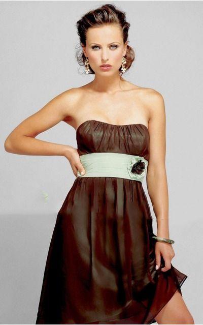 Strapless Short Chiffon Empire Lace-up Formal Dresses gjea71156