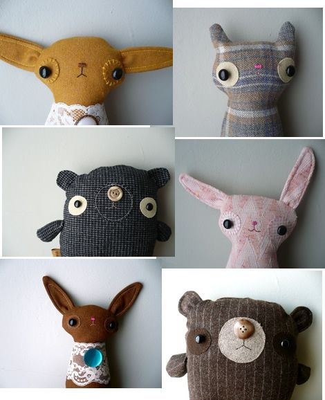 Plushie Pile 1 - favourite looking plushie soft toy pattern finds of the day I love their quirky minimalist faces good contemporary minimalist style toys