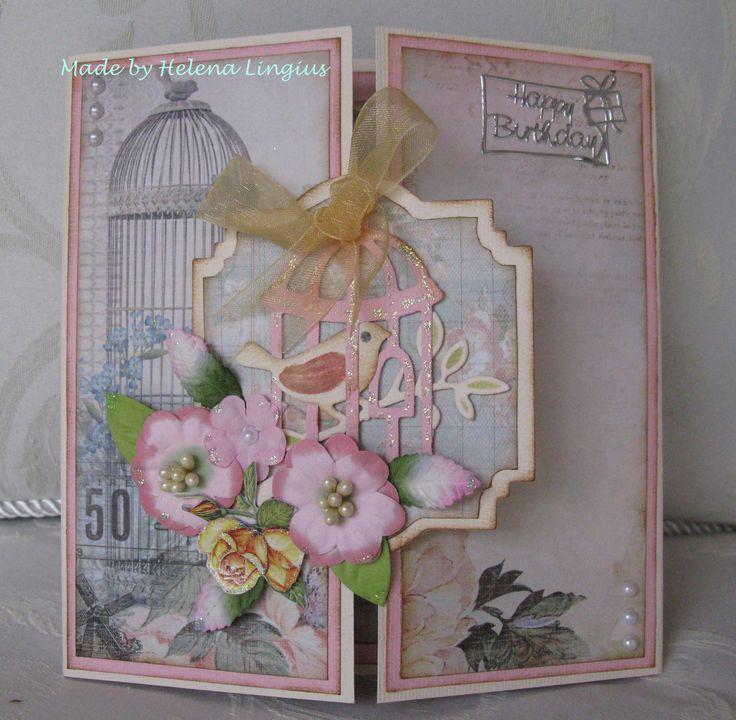 Birds -  Kaiser Craft paper, Porta Craft flowers, and Spellbinder dies