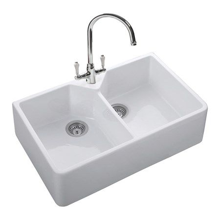 Fireclay Ceramic White Double Bowl Belfast Kitchen Sink U0026 Waste   800 X  500mm