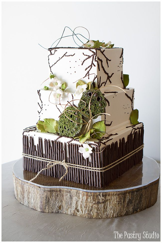 {Organic} Shades of Green,Chocolate Brown and Khaki Wedding Cake by The Pastry Studio: Wedding and Reception in Ormond Beach, FL