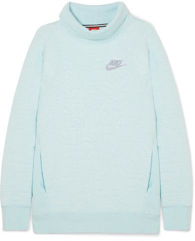 Nike - Ice Flash Quilted Cotton-blend Jersey Turtleneck Sweatshirt - Sky blue