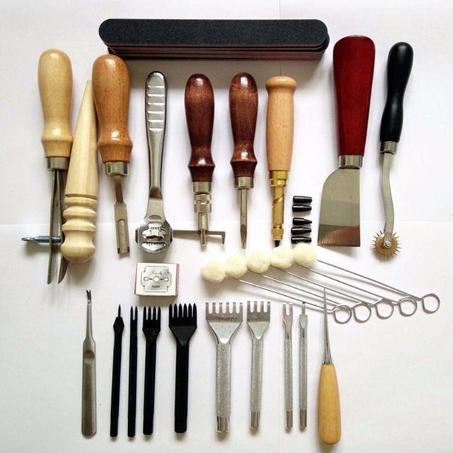 20 ШТ. Leather Craft Ручной Наборы Ручной Шитье Швейные Набор Инструментов Нить Шило Иглы Наперсток