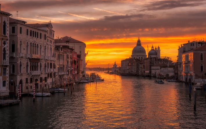 Download wallpapers Venice, Santa Maria della Salute, basilica, Baroque architecture, cityscape, sunset, Italy