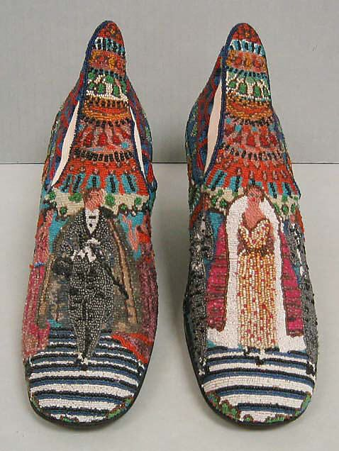 "1924 ""Le Bal"" shoes designed by Paul Poiret and manufactured by André Perugia, Stamp: ""Perugia / BREVETE S.G.D.G. / PI-AVENUE NOTRE DAME-NICE"" via MMA."