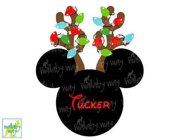 Mickey Reindeer with Christmas Lights Printable Iron on or use as clip art by TheWallabyWay - Perfect for Mickey's Very Merry Christmas Party - DIY Disney Shirt