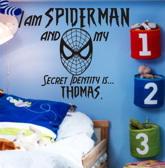 SALE vinyl lettering spiderman wall decal I am Spider man and my secret Identity is (insert your custom name here). via Etsy