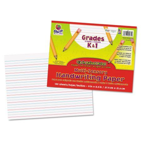 Pacon Multi-Sensory Raised Ruled Paper, 8-1/2 x 11, White, 100 Sheets/Pad, Multicolor