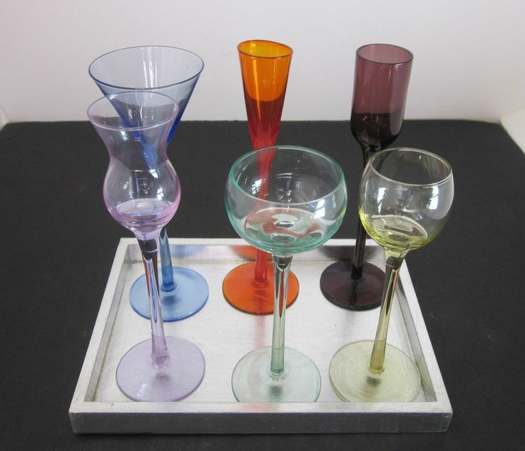 Cordial Glasses Colored Set Of 6 Bar Stemware Stems Blue