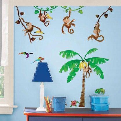 Monkey Business - Wall stickers med søde og sjove aber der svinger sig i junglens træer.