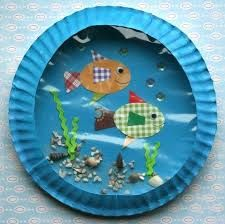 Who knew you could do so many crafts with paper plates? This here is a paper plate aquarium y'all
