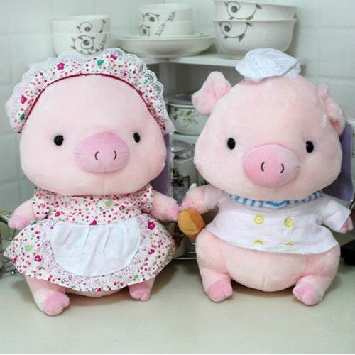 Lovely Pink Plush Stuffed Toy Pigs As Cook