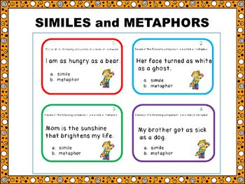 Similes and Metaphors:This  product contains 24 task cards that ask the students to distinguish between similes and metaphors. Included:*24 task cards about similes and metaphors*answer key*a rubric to keep track of the cards completedThe cards can be laminated for multiple uses.