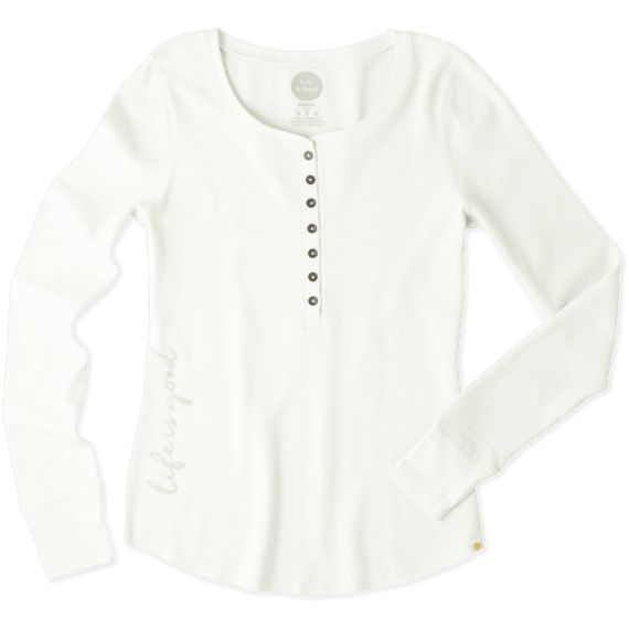 No waffling about it, this textured Henley looks as good as it feels. Vintage inspired with mini metal buttons down the front placket. Ribbed cuffs, cotton/spandex blend. Puts you in a Saturday state of mind every time.<ul><li>Fitted</li><li>Designed to fit closely, touching the body.</li><li>96% Cotton, 4% Spandex</li><li>7.2 oz</li><li>Garment washed for softness</li><li>Antique brass fini...