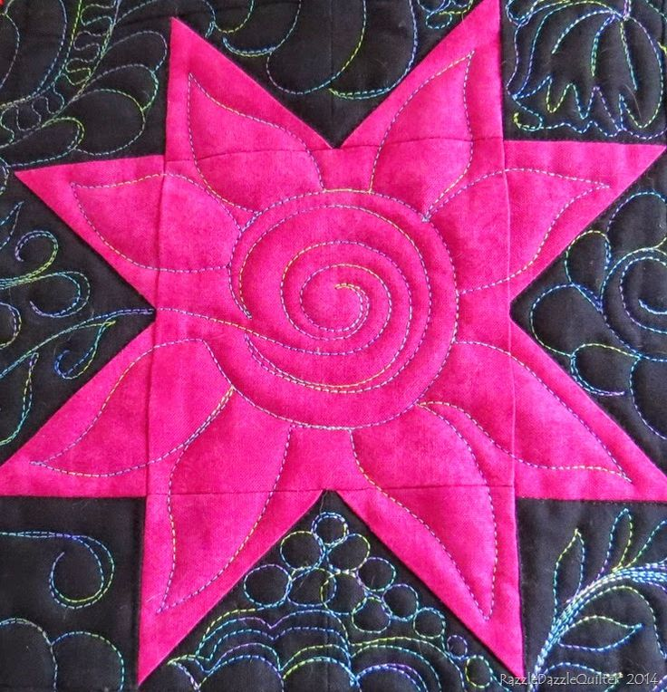 Star quilting by Razzle Dazzle Quilter (New Zealand).  Variegated thread.