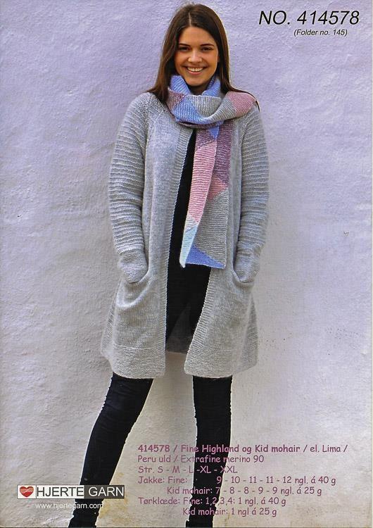 Jakke og tørklæge til damer, strikket i Lima fra Hjertegarn, opskrift 414579 (hjrtegarn414578)