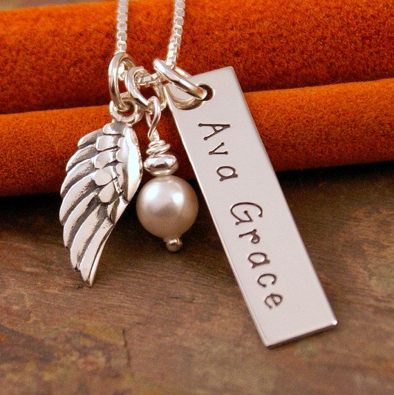 i want! instead of Ava Grace it would read Angel & Miya        Hand Stamped Jewelry  Personalized Vertical by IntentionallyMe, $39.00