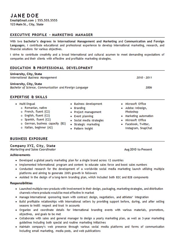 Template for writing an English essay based on fiction - (for A - marketing manager resume sample