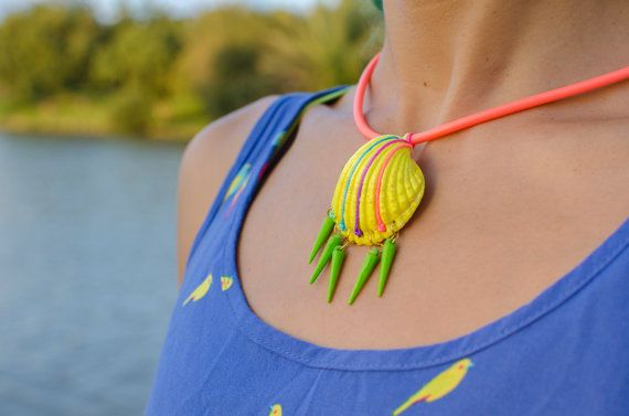 Neon Shell Necklace Vivid Green Dangle Spikes Jewelry by Artanabra, $18.00