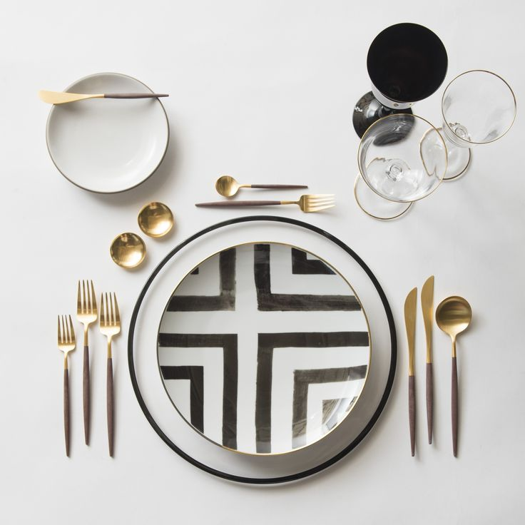 Black Halo Charger + Heath Ceramics in Opaque + Christian LaCroix in Sol Y Sombra Dinnerware + 14K Gold Salt Cellars + GOA in 24K Gold & Wood Flatware + Chloe Gold Rimmed Stemware & Chloe Gold Rimmed Stemware in Black | Casa de Perrin Design Presentation