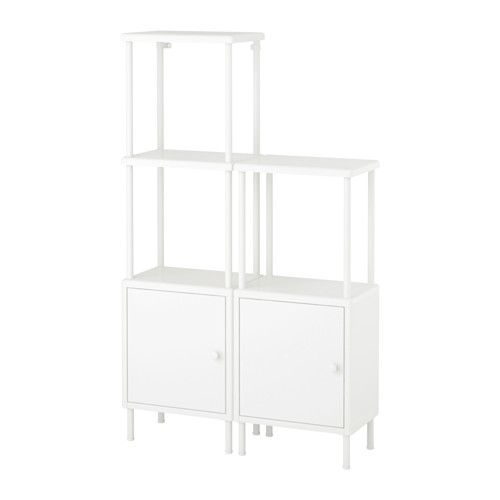 IKEA - DYNAN, Shelving unit with 2 cabinets, , Adjustable feet make it possible to compensate for any irregularities in the floor.Perfect in a small bathroom.