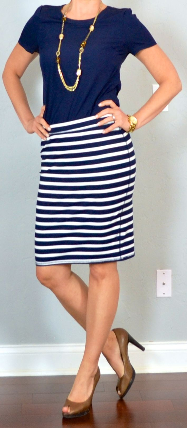 outfit post: navy blouse, striped jersey pencil skirt, brown peep toed pumps | Outfit Posts