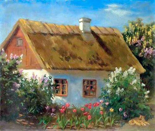 """Painting of a cottage by Grand Duchess Olga Alexandrovna Romanova of Russia.  """"AL"""""""