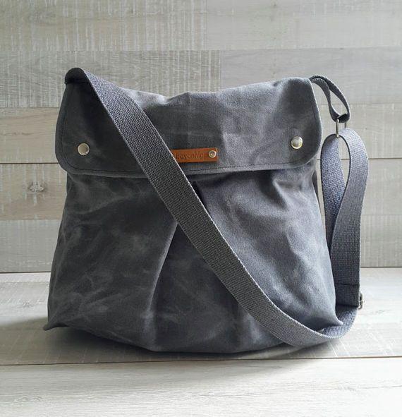 Grey Waxed Canvas Messenger Bag Modular Messenger Bag in GRAY